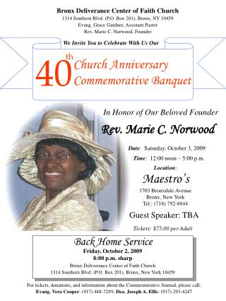 Church Anniversary Commemorative Banquet