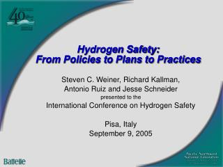 Hydrogen Safety: From Policies to Plans to Practices