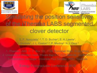 Simulating the position sensitivity of the iThemba LABS segmented clover detector
