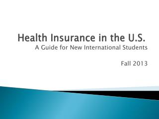 Health Insurance in the U.S.