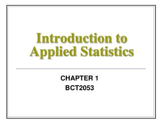 Introduction to Applied Statistics