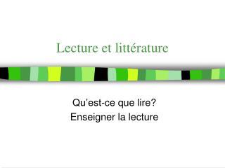 Lecture et littérature