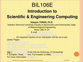 BIL106 E Introduction to Scientific & Engineering Computing
