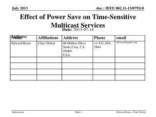 Effect of Power Save on Time-Sensitive Multicast Services