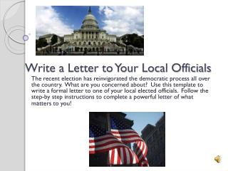 Write a Letter to Your Local Officials