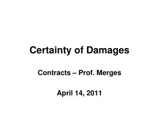 Certainty of Damages