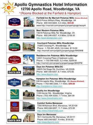 Days Inn Manassas 7611 Centreville Rd, Manassas, VA 20111 Phone: 800-246-8357, 9 miles, $100.00