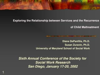 Exploring the Relationship between Services and the Recurrence of Child Maltreatment