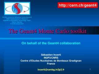 The Geant4 Monte Carlo toolkit