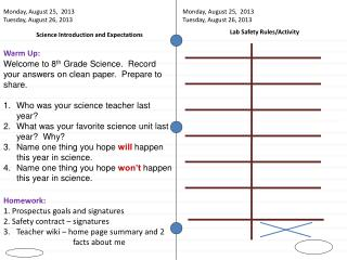 Science Introduction and Expectations