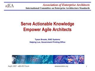 Serve Actionable Knowledge Empower Agile Architects