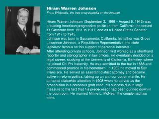 Hiram Warren Johnson From Wikipedia, the free encyclopedia on the internet