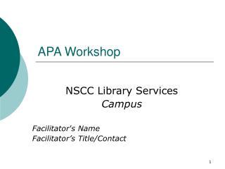 APA Workshop