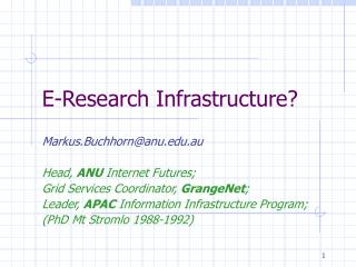 E-Research Infrastructure?