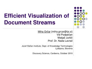 Efficient Visualization of Document Streams