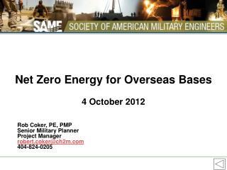 Net Zero Energy for Overseas Bases