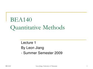 BEA140  Quantitative Methods