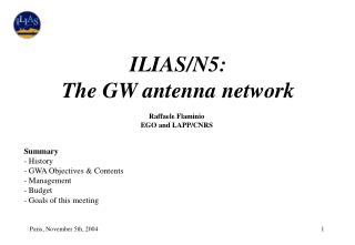ILIAS/N5: The GW antenna network