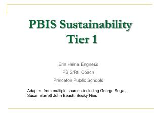 PBIS Sustainability                Tier 1