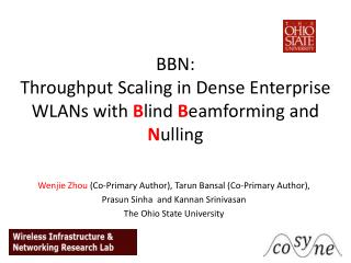BBN:  Throughput  Scaling in  Dense Enterprise  WLANs  with  B lind  B eamforming  and  N ulling