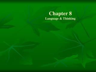 Chapter 8 Language & Thinking