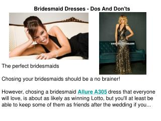 Bridesmaid Dresses - Dos And Don'ts