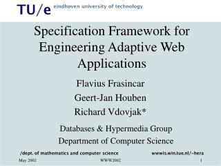 Specification Framework for Engineering Adaptive Web Applications