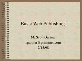 Basic Web Publishing