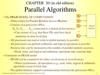 CHAPTER  30 (in old edition) Parallel Algorithms