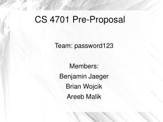 CS 4701 Pre-Proposal