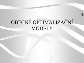 OBECNÉ OPTIMALIZAČNÍ MODELY