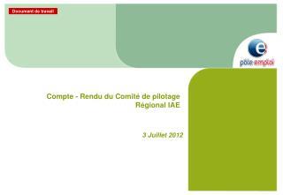 Compte - Rendu du Comité de pilotage Régional IAE