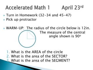 Accelerated Math 1		 April 23 rd