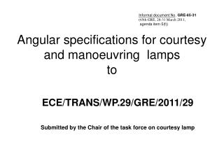 Angular specifications for courtesy and manoeuvring lamps to