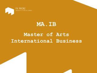 MA.IB Master of Arts International Business