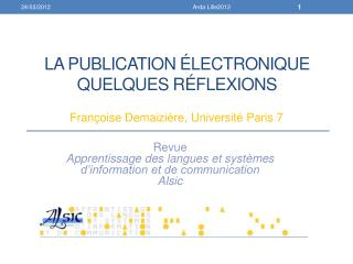 La publication Électronique quelques r É flexions