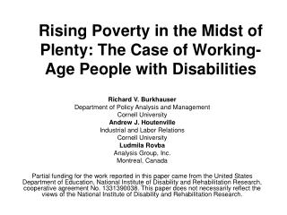 Rising Poverty in the Midst of Plenty: The Case of Working-Age People with Disabilities