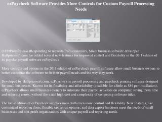 ezPaycheck Software Provides More Controls for Custom Payrol