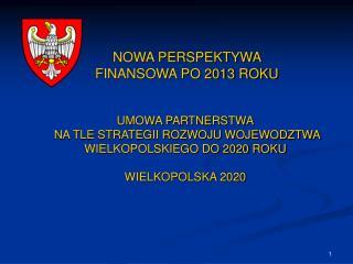 NOWA PERSPEKTYWA FINANSOWA PO 2013 ROKU
