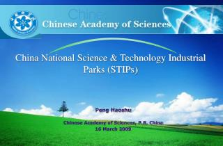 China National Science & Technology Industrial Parks (STIPs)