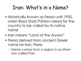 Iran: What's in a Name?