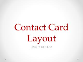 Contact Card Layout