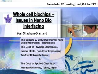 Whole cell biochips – Issues in Nano Bio Interfacing