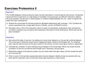 Exercises Proteomics II