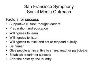 San Francisco Symphony Social Media Outreach