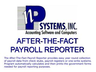 AFTER-THE-FACT  PAYROLL REPORTER