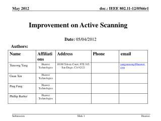 Improvement on Active Scanning
