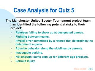 Case Analysis for Quiz 5
