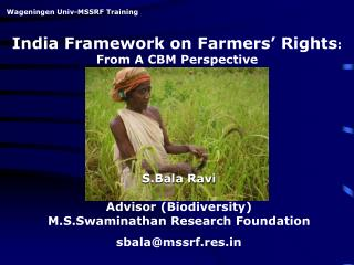 India Framework on Farmers' Rights : From A CBM Perspective