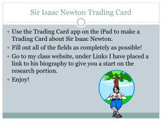 Sir Isaac Newton Trading Card